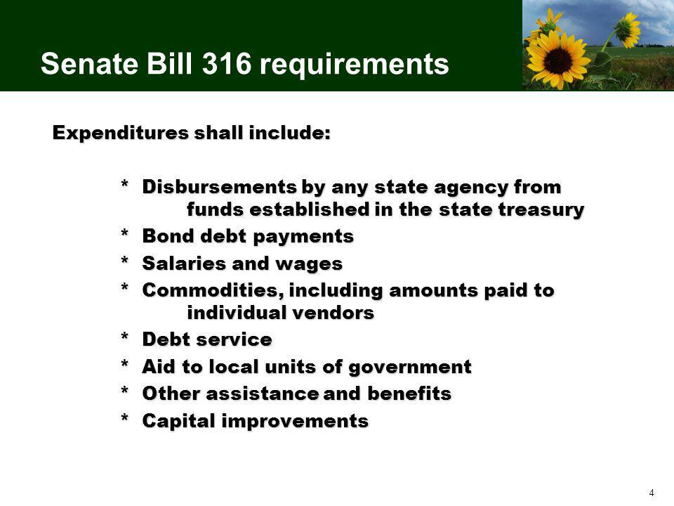 4 Senate Bill 316 requirements Expenditures shall include: * Disbursements by any state agency from funds established in the state treasury * Bond debt payments * Salaries and wages * Commodities, including amounts paid to individual vendors * Debt service * Aid to local units of government * Other assistance and benefits * Capital improvements
