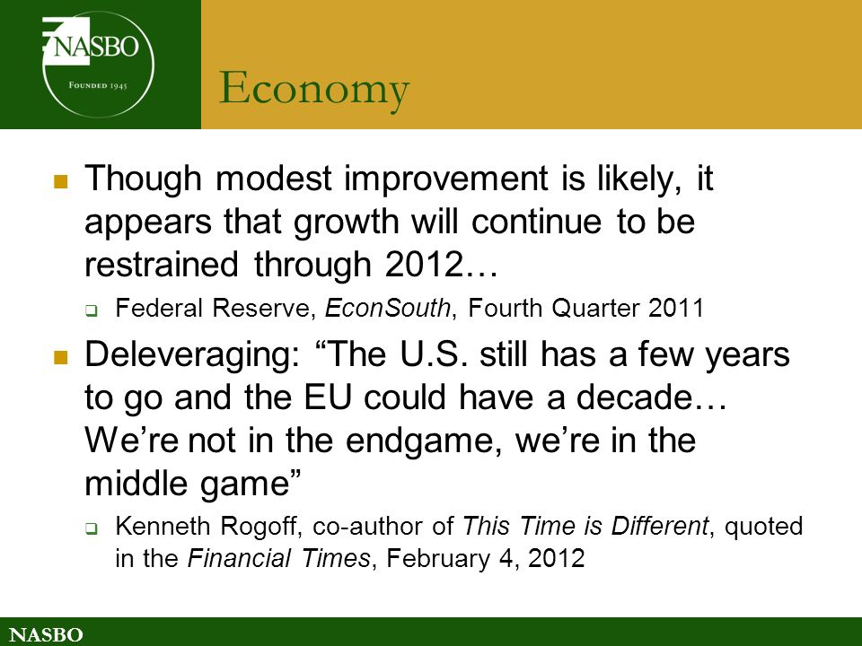 NASBO Economy Though modest improvement is likely, it appears that growth will continue to be restrained through 2012… Federal Reserve, EconSouth, Fourth Quarter 2011 Deleveraging: The U.S.