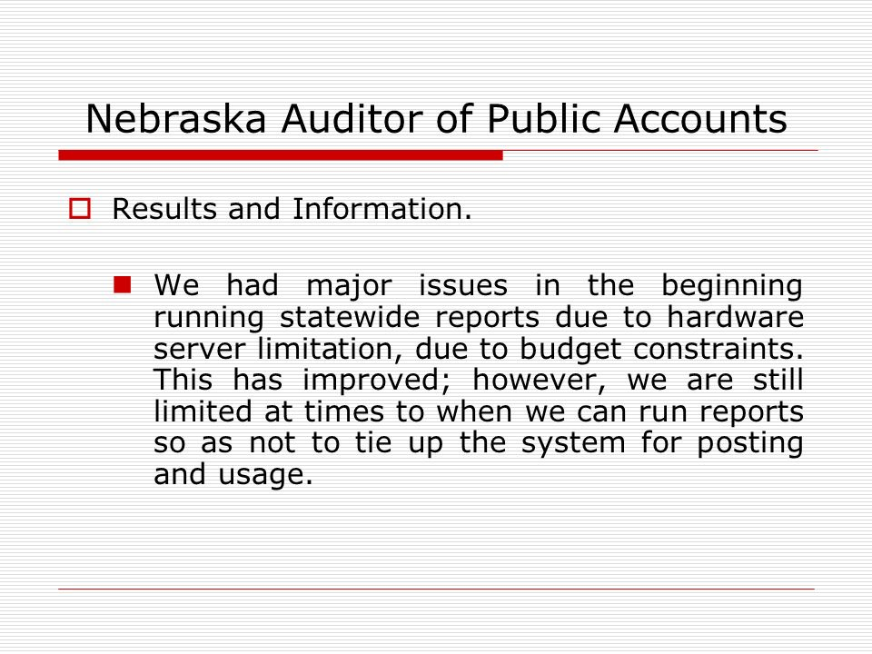 Nebraska Auditor of Public Accounts Results and Information.