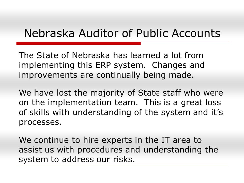 Nebraska Auditor of Public Accounts Thank You Questions.