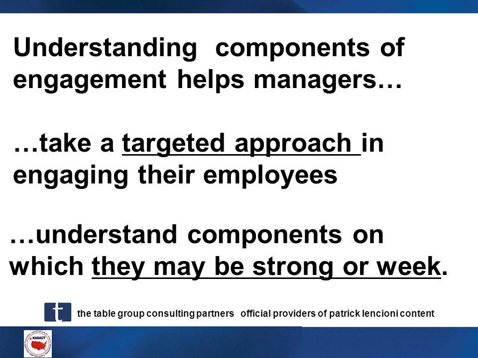 the table group consulting partners official providers of patrick lencioni content Understanding components of engagement helps managers… …understand