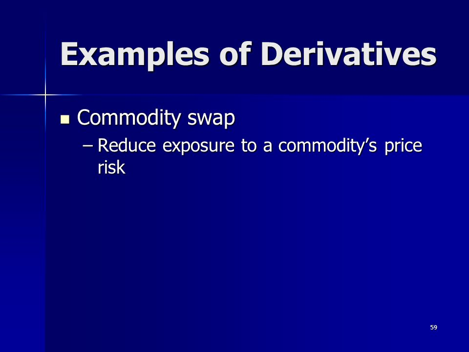 59 Examples of Derivatives Commodity swap Commodity swap –Reduce exposure to a commoditys price risk