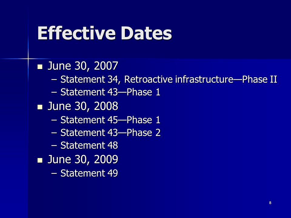 8 Effective Dates June 30, 2007 June 30, 2007 –Statement 34, Retroactive infrastructurePhase II –Statement 43Phase 1 June 30, 2008 June 30, 2008 –Statement 45Phase 1 –Statement 43Phase 2 –Statement 48 June 30, 2009 June 30, 2009 –Statement 49