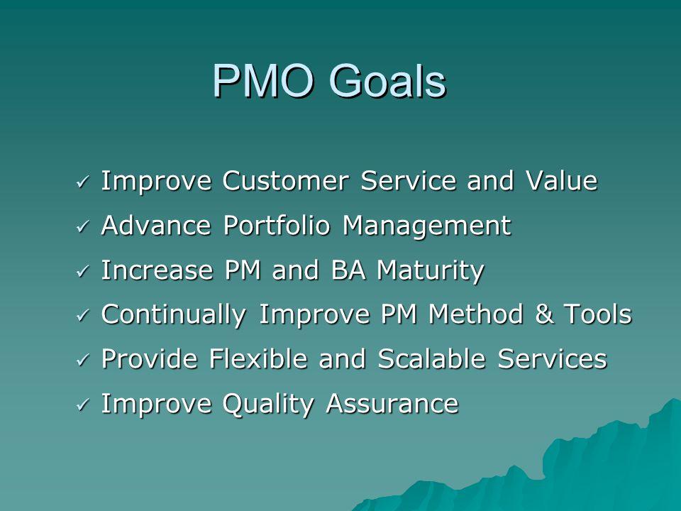 PMO Goals Improve Customer Service and Value Improve Customer Service and Value Advance Portfolio Management Advance Portfolio Management Increase PM