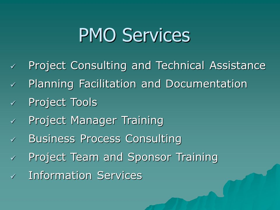 PMO Services Project Consulting and Technical Assistance Project Consulting and Technical Assistance Planning Facilitation and Documentation Planning Facilitation and Documentation Project Tools Project Tools Project Manager Training Project Manager Training Business Process Consulting Business Process Consulting Project Team and Sponsor Training Project Team and Sponsor Training Information Services Information Services