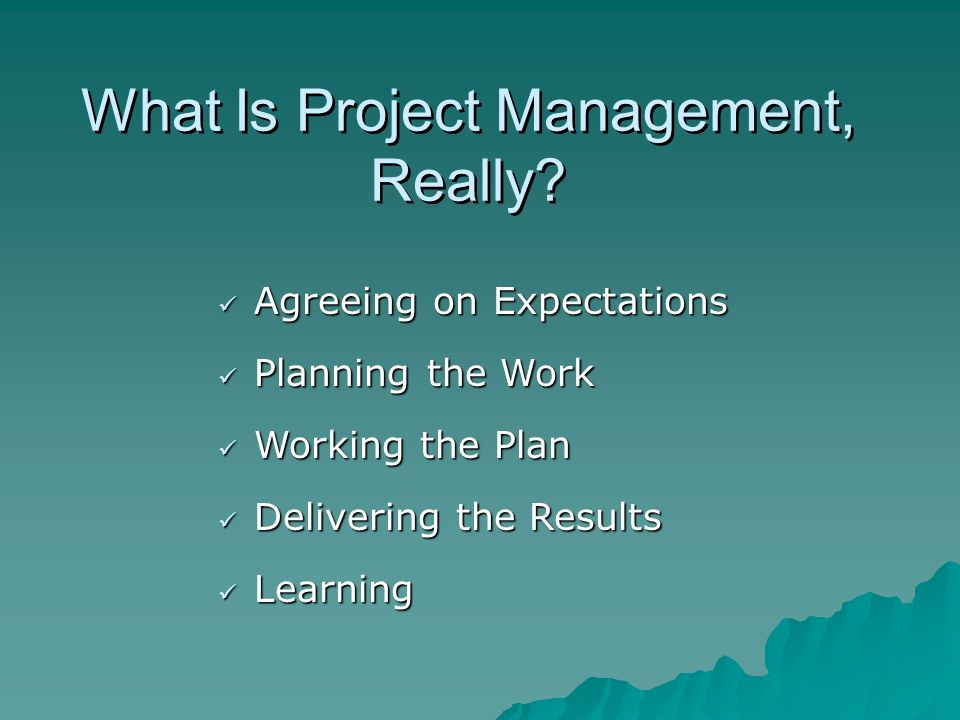 What Is Project Management, Really? Agreeing on Expectations Agreeing on Expectations Planning the Work Planning the Work Working the Plan Working the
