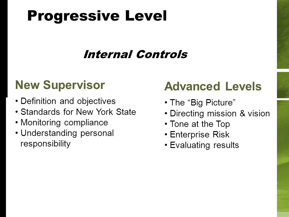 Progressive Levels New Supervisor Definition and objectives Standards for New York State Monitoring compliance Understanding personal responsibility A