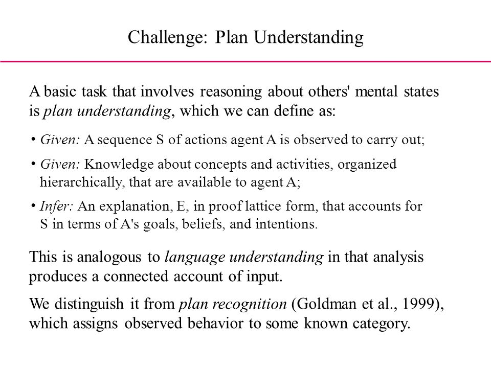 Challenge: Plan Understanding A basic task that involves reasoning about others mental states is plan understanding, which we can define as: Given: A sequence S of actions agent A is observed to carry out; Given: Knowledge about concepts and activities, organized hierarchically, that are available to agent A; Infer: An explanation, E, in proof lattice form, that accounts for S in terms of A s goals, beliefs, and intentions.