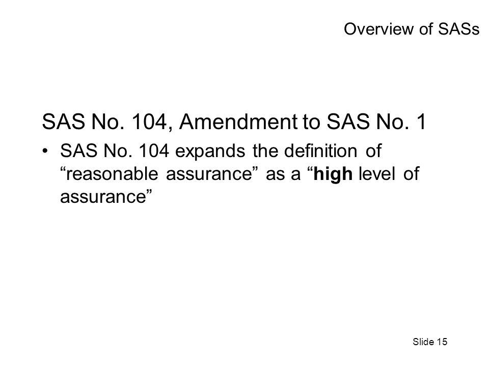 Slide 15 Overview of SASs SAS No. 104, Amendment to SAS No. 1 SAS No. 104 expands the definition of reasonable assurance as a high level of assurance