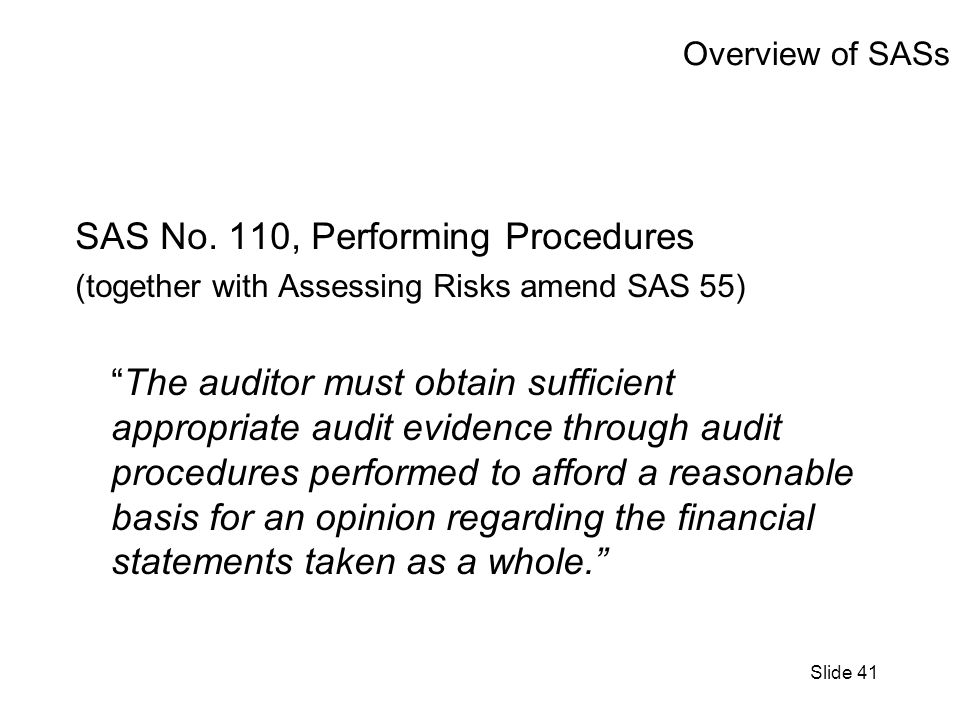 Slide 41 Overview of SASs SAS No.