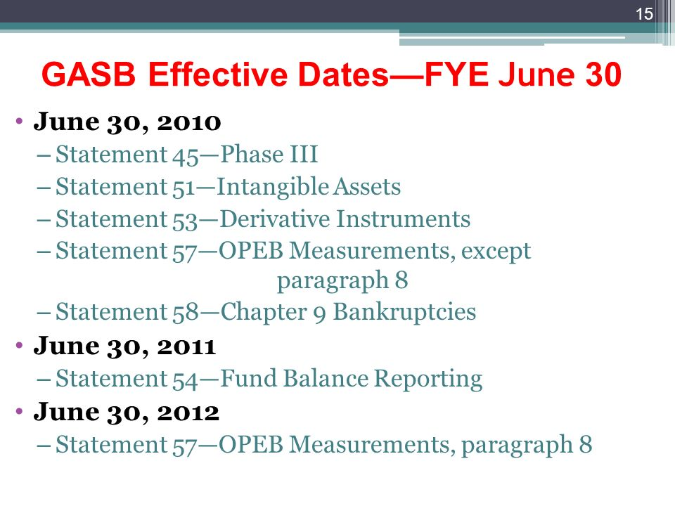 GASB Effective DatesFYE June 30 June 30, 2010 – Statement 45Phase III – Statement 51Intangible Assets – Statement 53Derivative Instruments – Statement 57OPEB Measurements, except paragraph 8 – Statement 58Chapter 9 Bankruptcies June 30, 2011 – Statement 54Fund Balance Reporting June 30, 2012 – Statement 57OPEB Measurements, paragraph 8 15