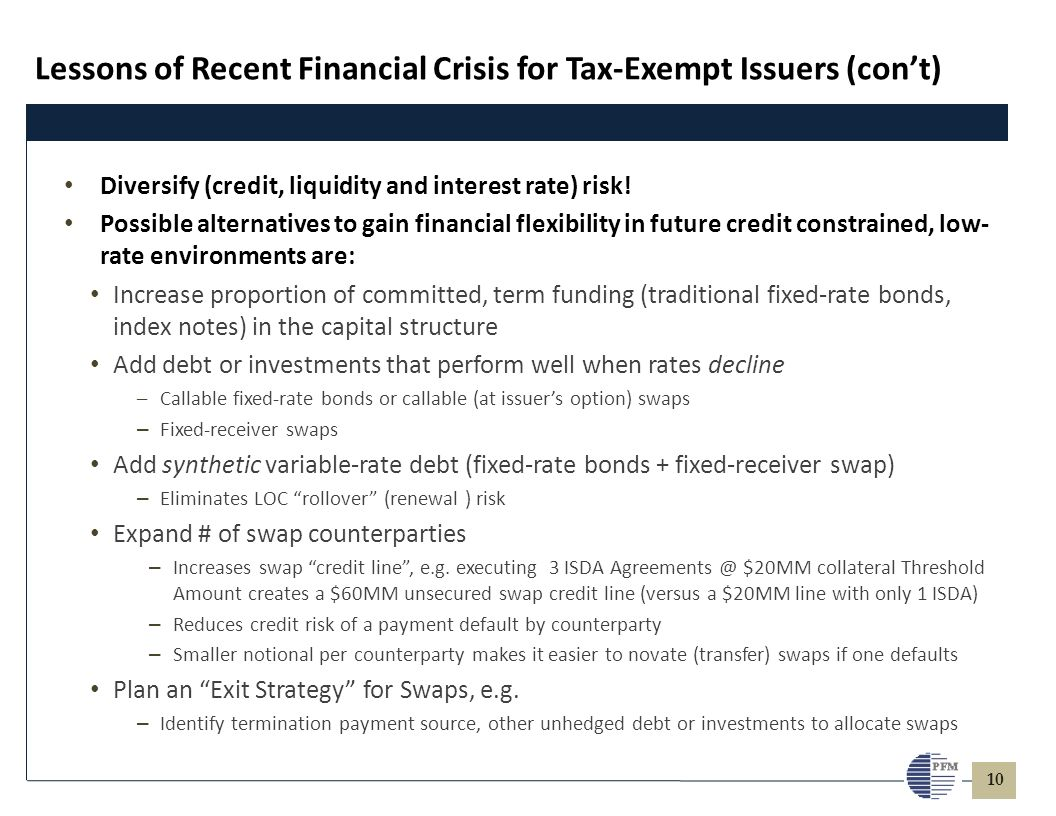 10 Diversify (credit, liquidity and interest rate) risk! Possible alternatives to gain financial flexibility in future credit constrained, low- rate e
