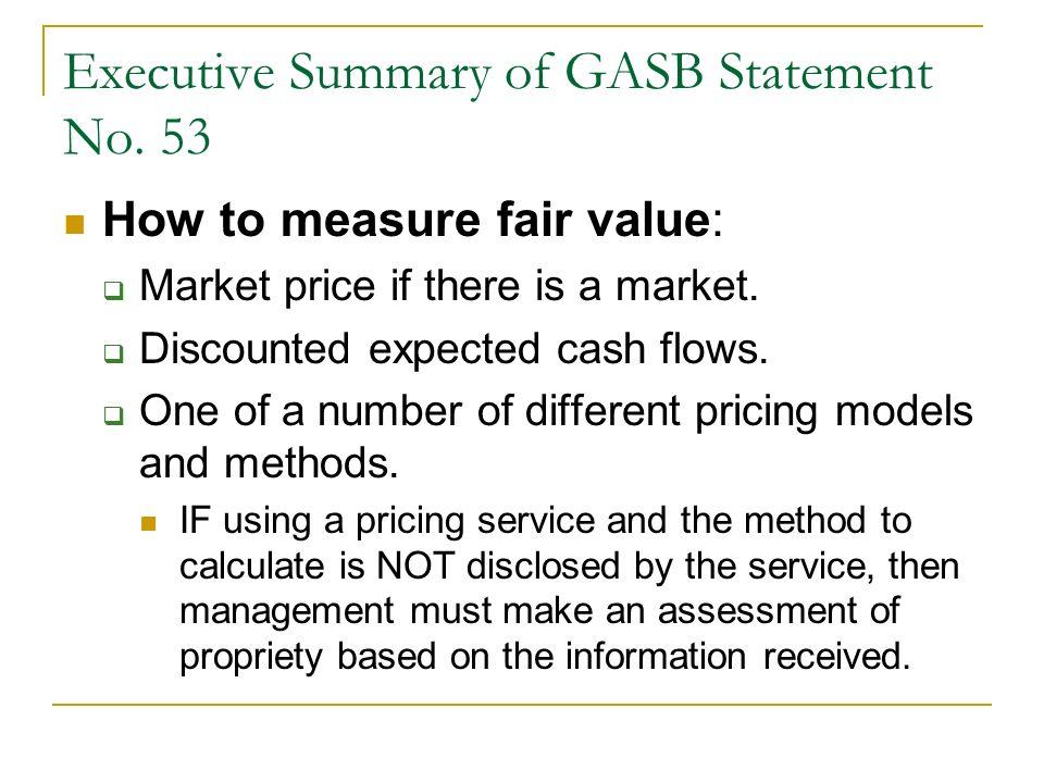 Executive Summary of GASB Statement No.