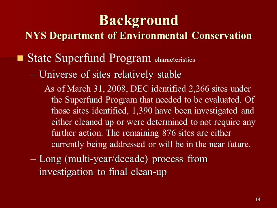 14 Background NYS Department of Environmental Conservation State Superfund Program characteristics –Universe of sites relatively stable As of March 31