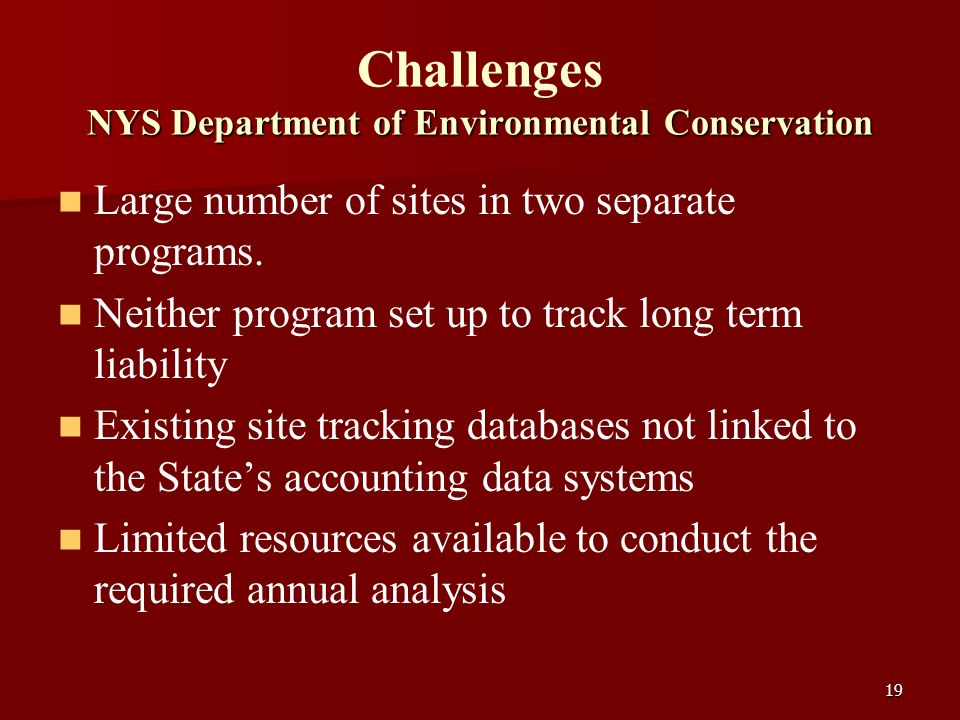 19 NYS Department of Environmental Conservation Challenges NYS Department of Environmental Conservation Large number of sites in two separate programs