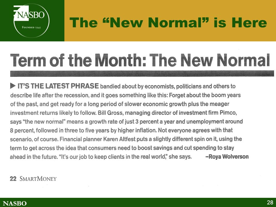 NASBO The New Normal is Here 28