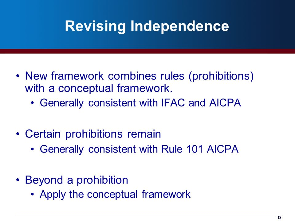 13 Revising Independence New framework combines rules (prohibitions) with a conceptual framework. Generally consistent with IFAC and AICPA Certain pro