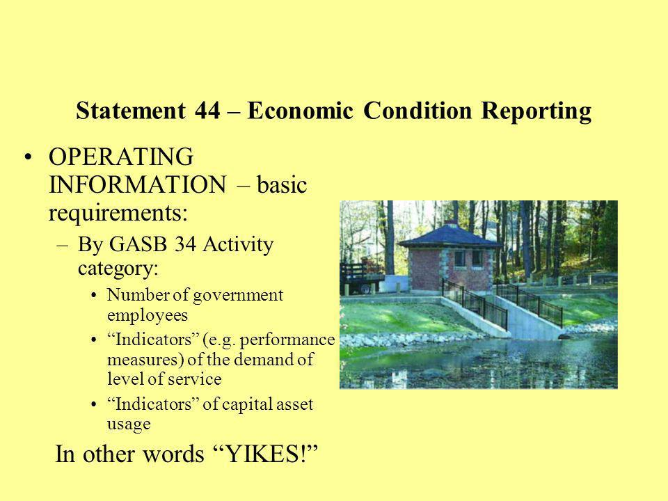 OPERATING INFORMATION – basic requirements: –By GASB 34 Activity category: Number of government employees Indicators (e.g.