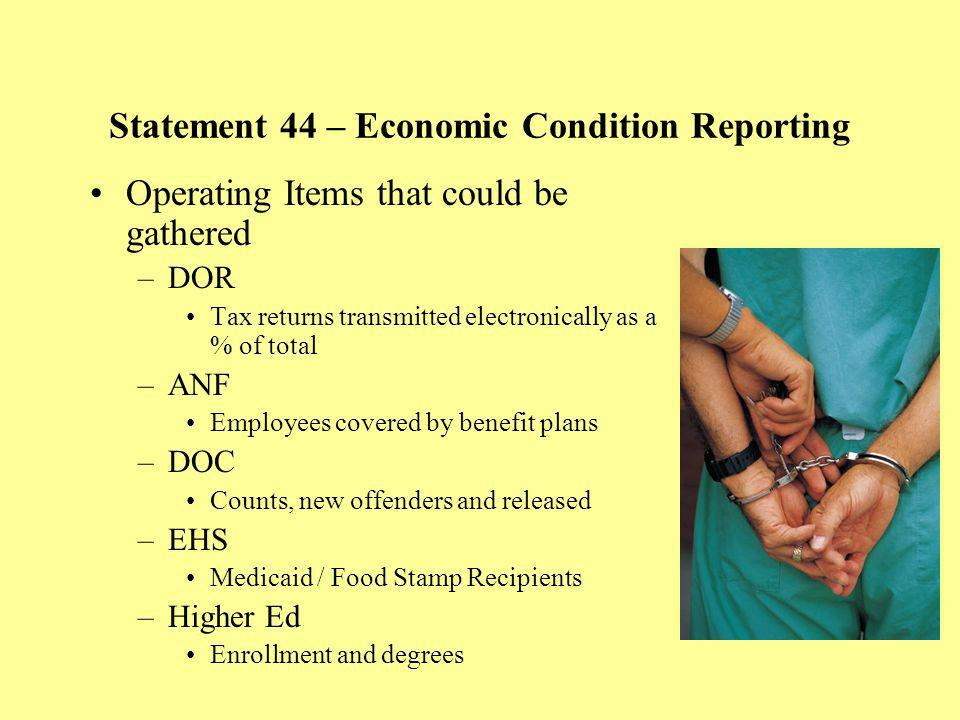 Statement 44 – Economic Condition Reporting Operating Items that could be gathered –DOR Tax returns transmitted electronically as a % of total –ANF Em