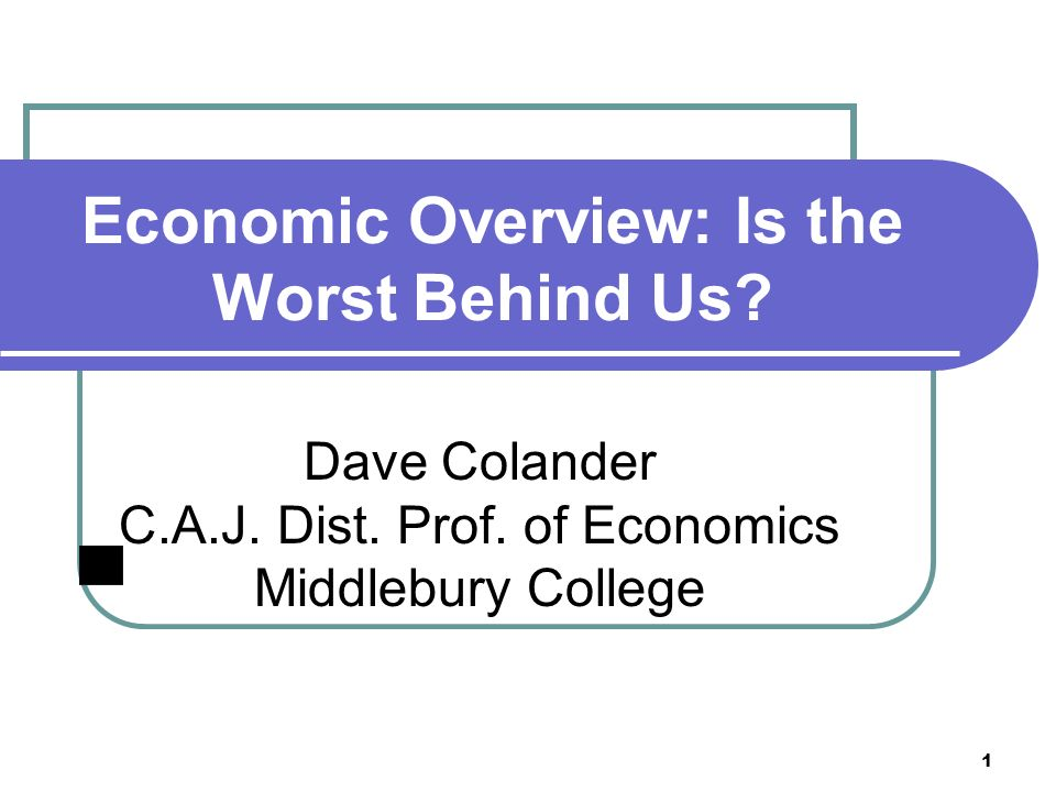 1 Economic Overview: Is the Worst Behind Us. Dave Colander C.A.J.