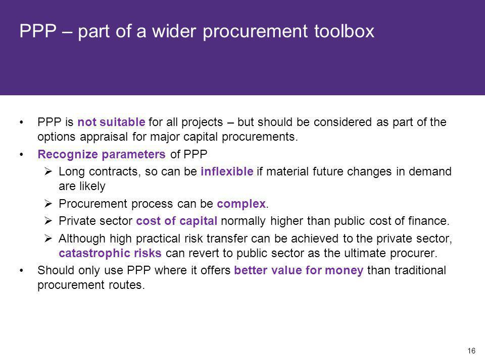 PPP – part of a wider procurement toolbox PPP is not suitable for all projects – but should be considered as part of the options appraisal for major c