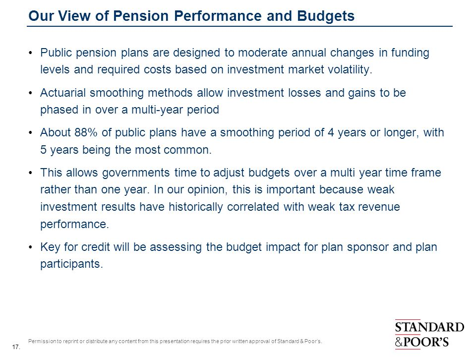 17. Permission to reprint or distribute any content from this presentation requires the prior written approval of Standard & Poors. Our View of Pensio