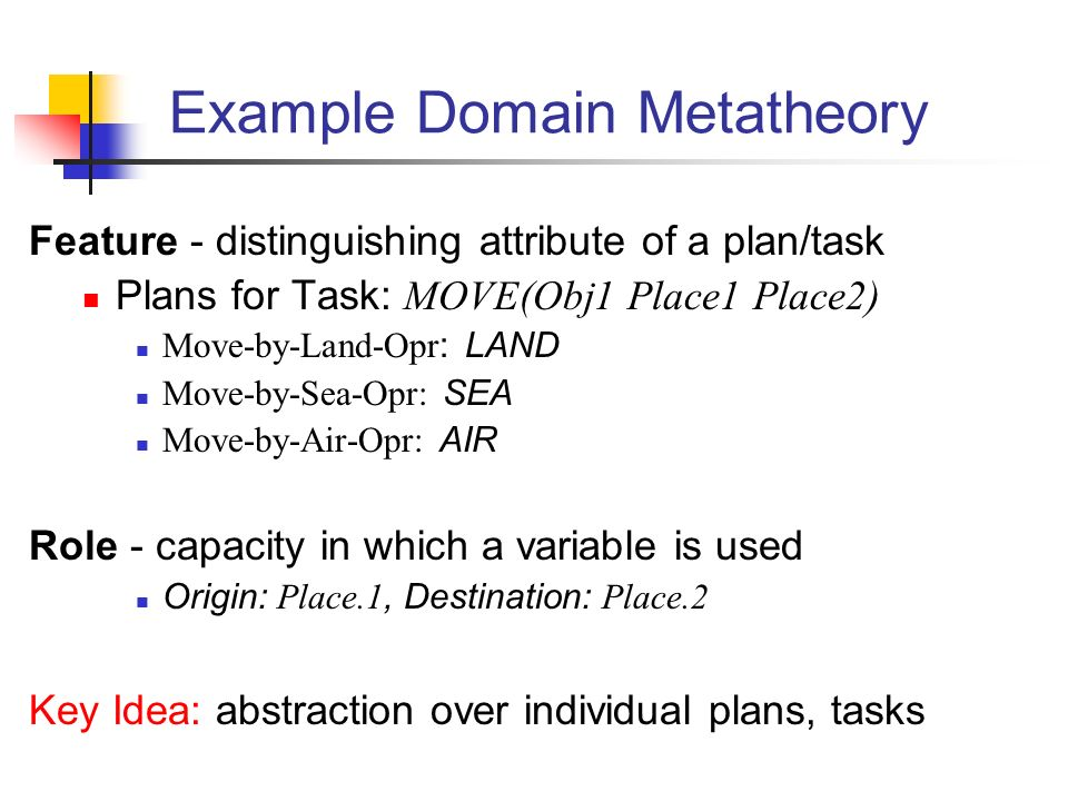 Example Domain Metatheory Feature - distinguishing attribute of a plan/task Plans for Task: MOVE(Obj1 Place1 Place2) Move-by-Land-Opr : LAND Move-by-Sea-Opr: SEA Move-by-Air-Opr: AIR Role - capacity in which a variable is used Origin: Place.1, Destination: Place.2 Key Idea: abstraction over individual plans, tasks