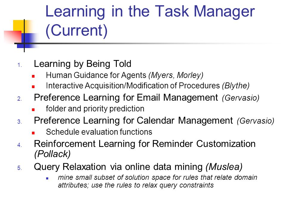 Learning in the Task Manager (Current) 1.
