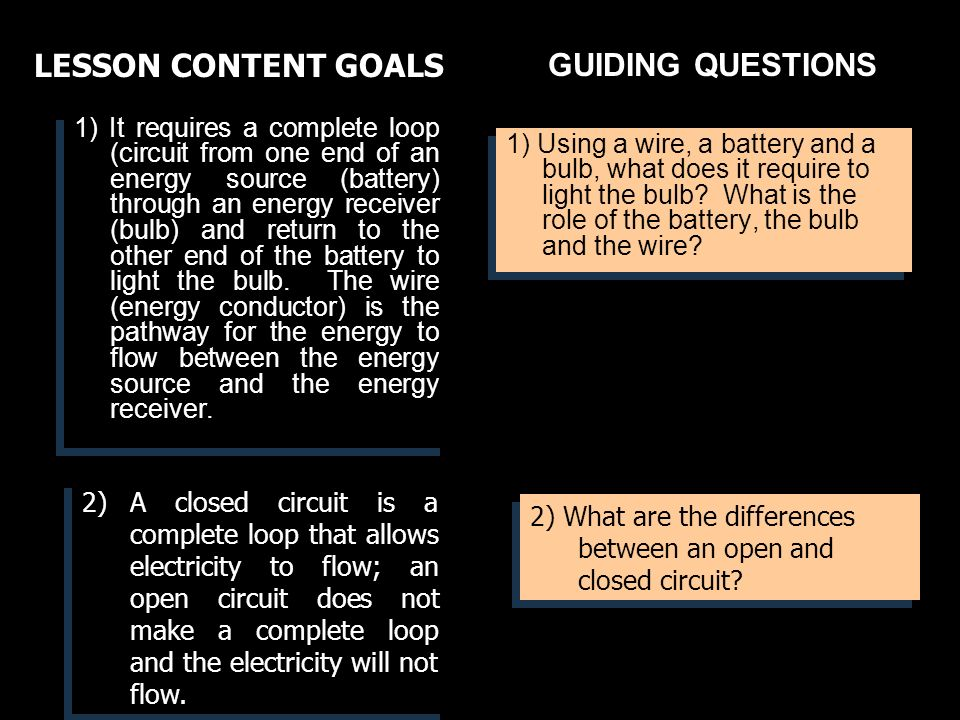 GUIDING QUESTIONS 1) Using a wire, a battery and a bulb, what does it require to light the bulb.