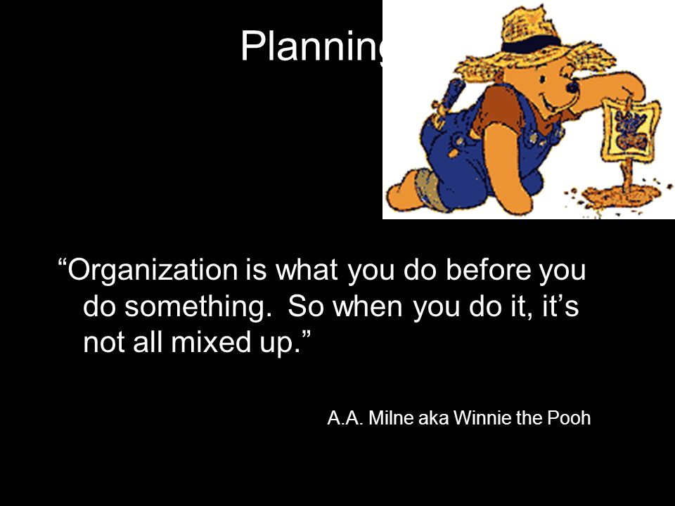 Planning Organization is what you do before you do something.