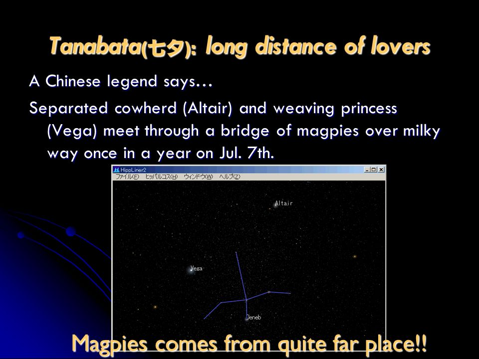 Tanabata (): long distance of lovers A Chinese legend says… Separated cowherd (Altair) and weaving princess (Vega) meet through a bridge of magpies ov