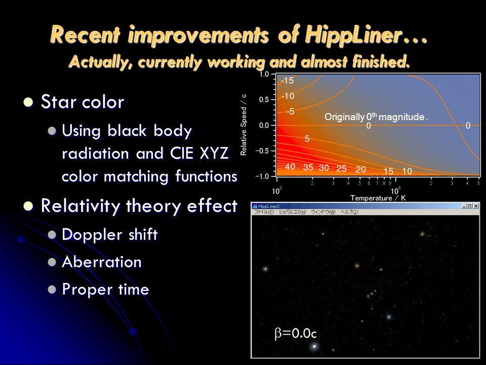 Recent improvements of HippLiner… Actually, currently working and almost finished. Star color Star color Using black body radiation and CIE XYZ color