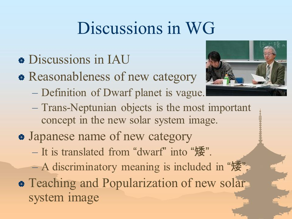Discussions in WG Discussions in IAU Reasonableness of new category –Definition of Dwarf planet is vague.