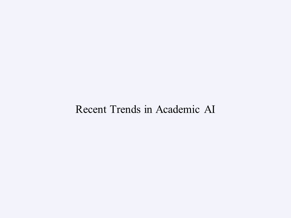 Recent Trends in Academic AI