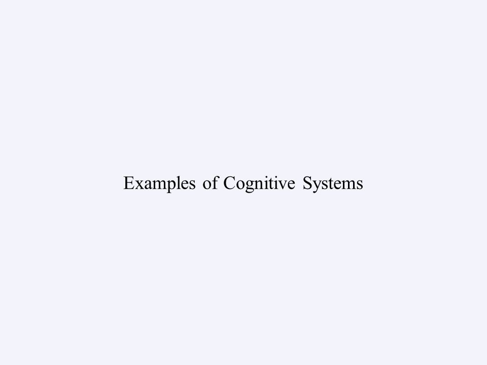 Examples of Cognitive Systems