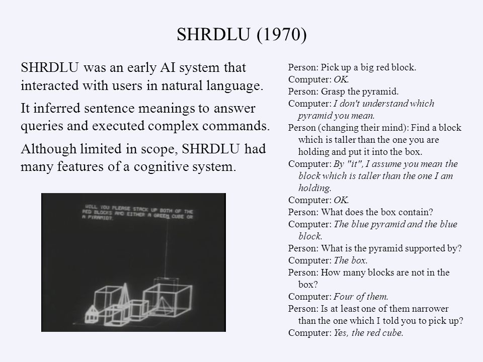 SHRDLU (1970) SHRDLU was an early AI system that interacted with users in natural language. It inferred sentence meanings to answer queries and execut