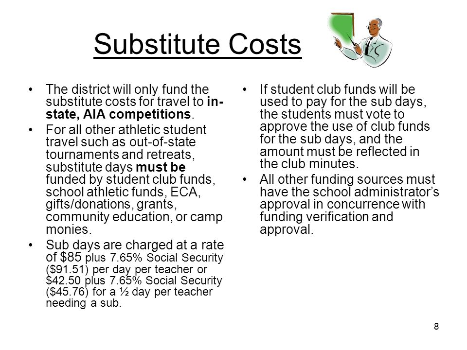 8 Substitute Costs The district will only fund the substitute costs for travel to in- state, AIA competitions. For all other athletic student travel s
