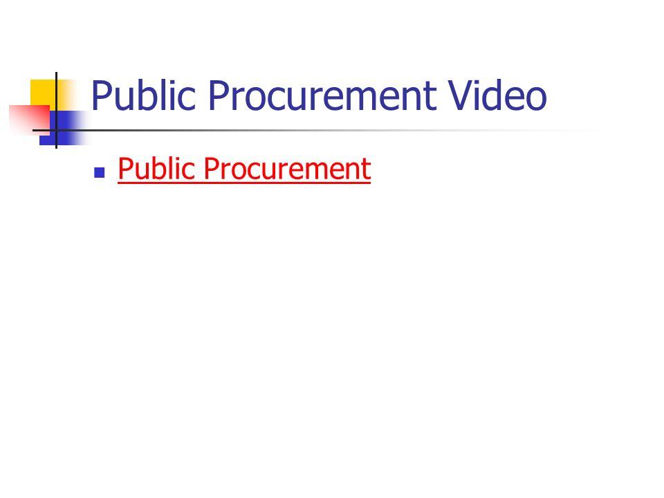 Public Procurement Video Public Procurement