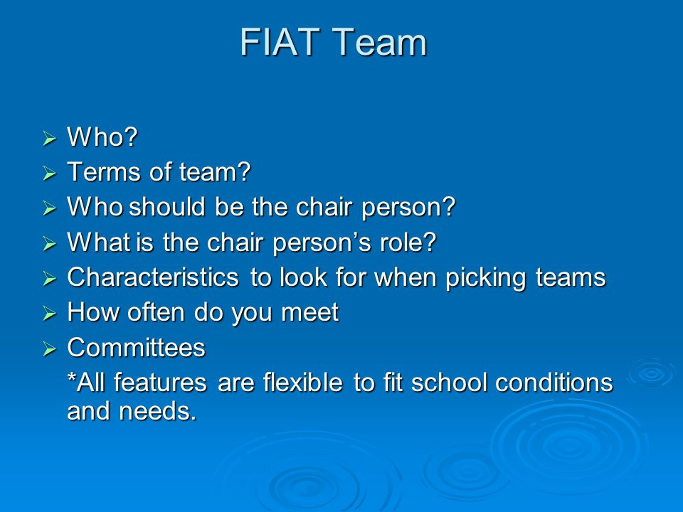 FIAT Team Who. Who. Terms of team. Terms of team.