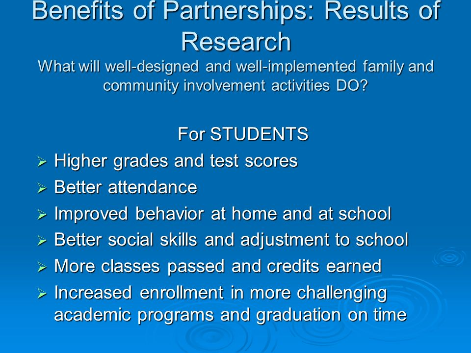 Benefits of Partnerships: Results of Research What will well-designed and well-implemented family and community involvement activities DO.