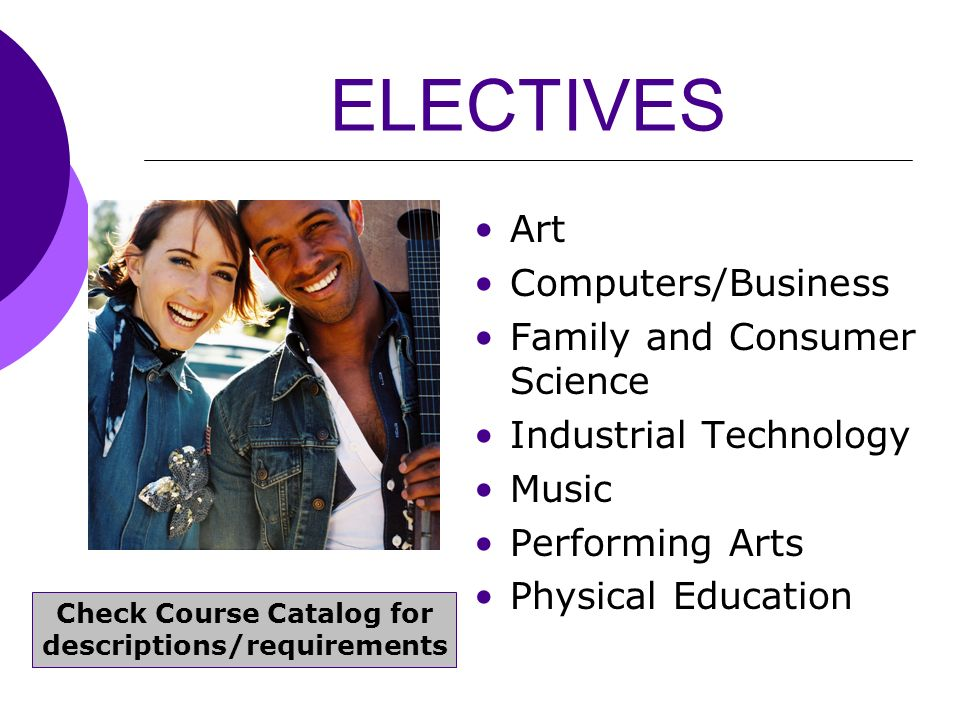 ELECTIVES Art Computers/Business Family and Consumer Science Industrial Technology Music Performing Arts Physical Education Check Course Catalog for d
