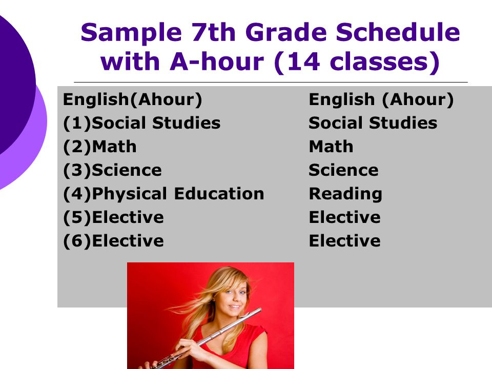 Sample 7th Grade Schedule with A-hour (14 classes) English(Ahour)English (Ahour) (1)Social StudiesSocial Studies (2)MathMath (3)ScienceScience (4)Physical EducationReading (5)ElectiveElective (6)ElectiveElective