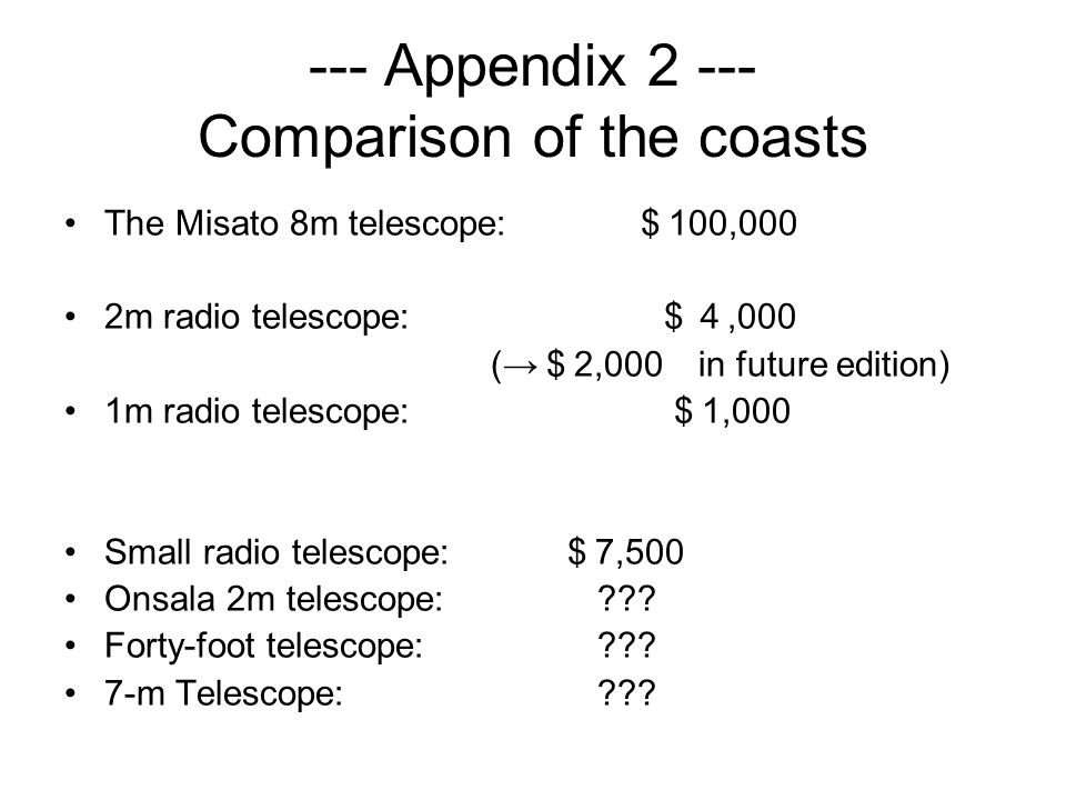 --- Appendix 2 --- Comparison of the coasts The Misato 8m telescope: 100,000 2m radio telescope:,000 ( 2,000 in future edition) 1m radio telescope: 1,000 Small radio telescope: 7,500 Onsala 2m telescope: .