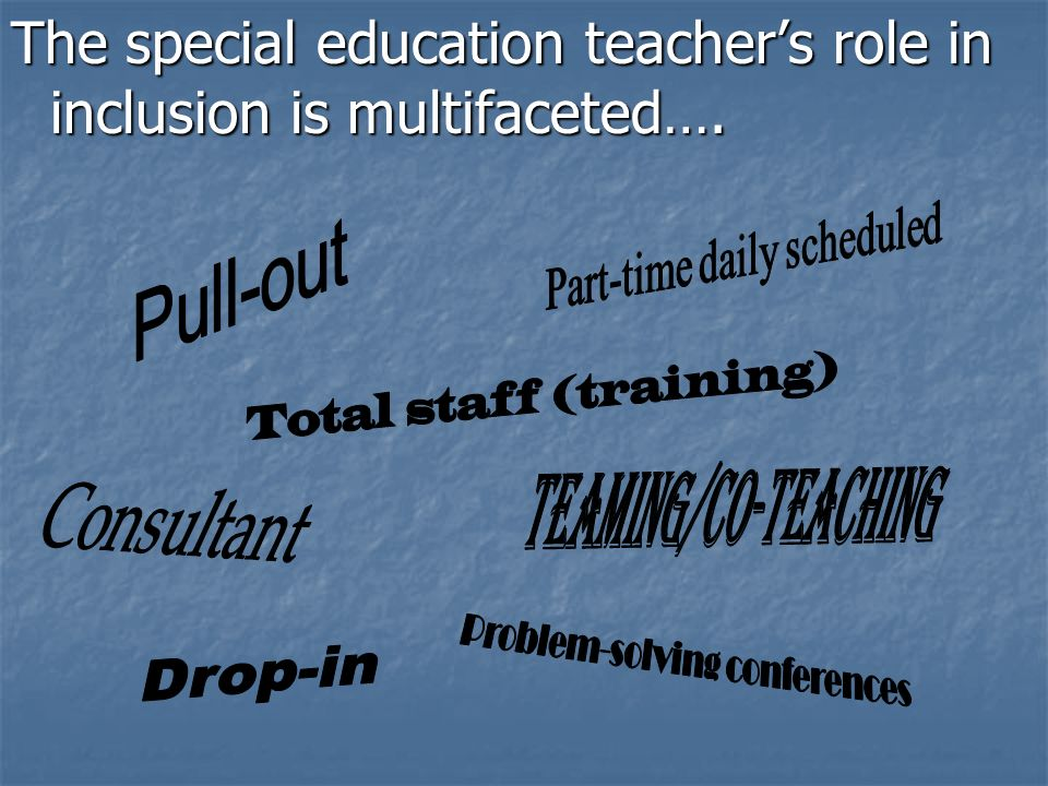 The special education teachers role in inclusion is multifaceted….
