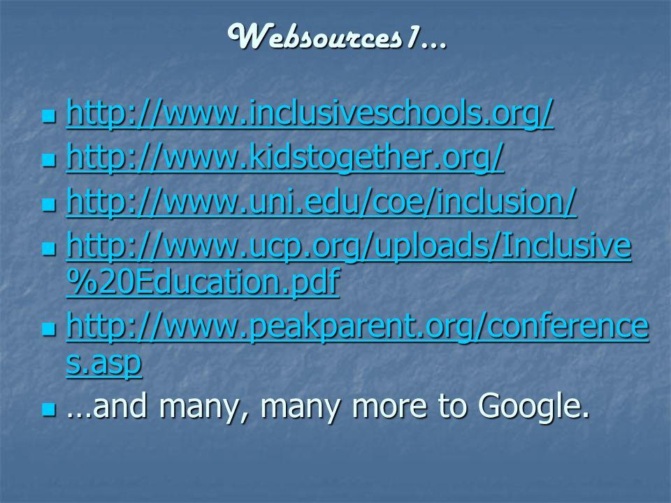 Websources1… http://www.inclusiveschools.org/ http://www.inclusiveschools.org/ http://www.inclusiveschools.org/ http://www.kidstogether.org/ http://ww