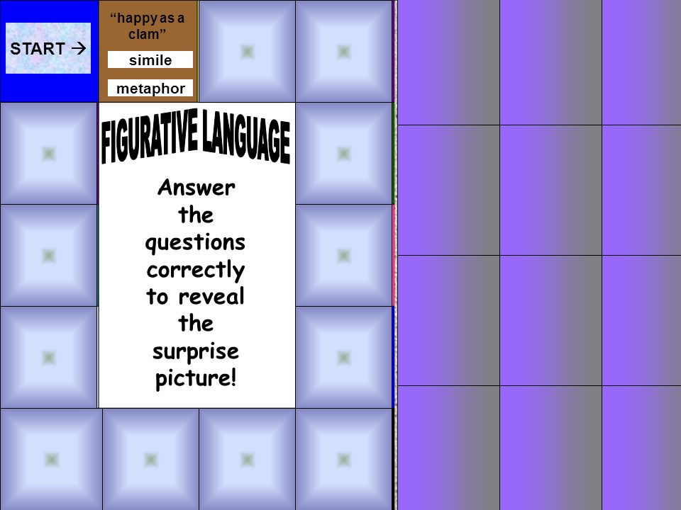 Game Directions 1.Read each clue and click the type of figurative language that matches it. 2.If you are right, small squares will disappear from the