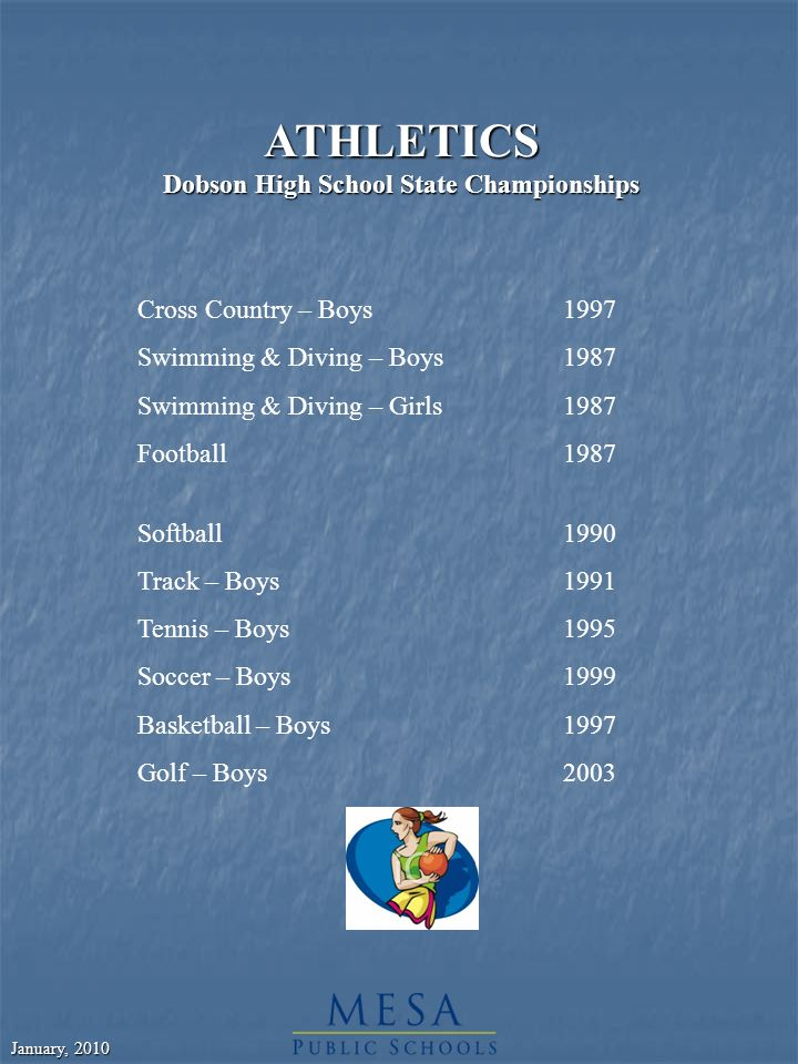 January, 2010 ATHLETICS Dobson High School State Championships Cross Country – Boys1997 Swimming & Diving – Boys1987 Swimming & Diving – Girls1987 Football1987 Softball1990 Track – Boys1991 Tennis – Boys1995 Soccer – Boys 1999 Basketball – Boys1997 Golf – Boys2003