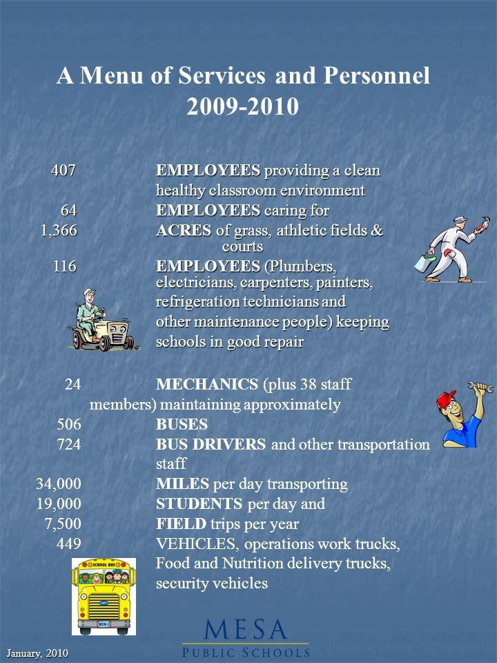 January, 2010 GRADUATES CLASS OF 2009 Dobson605 Mesa High725 Mountain View799 Red Mountain835 Skyline545 Westwood582 EVA 78 Total Graduates 4,229