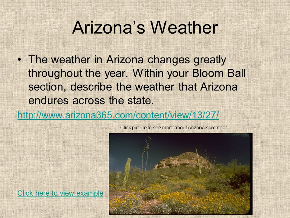 Arizonas Weather The weather in Arizona changes greatly throughout the year. Within your Bloom Ball section, describe the weather that Arizona endures
