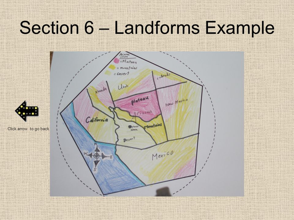 Section 6 – Landforms Example Click arrow to go back